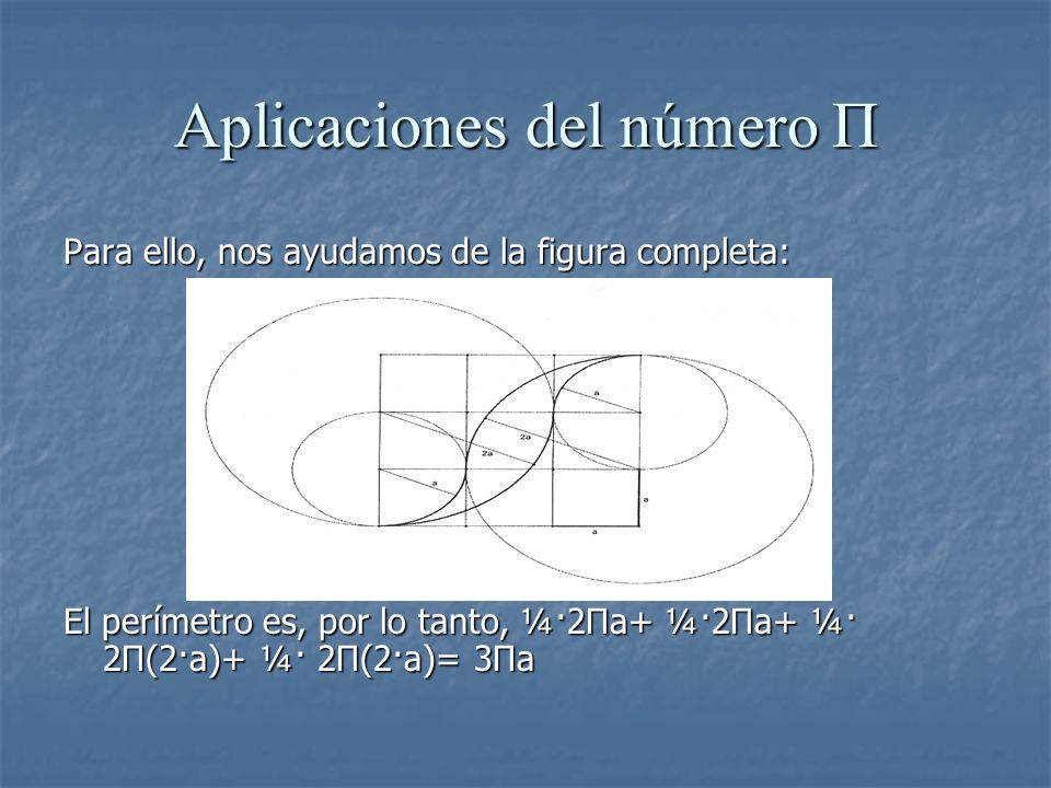 Aplicaciones del número Π Para ello, nos ayudamos de la figura completa: El perímetro es, por lo tanto, ¼·2Πa+ ¼·2Πa+ ¼· 2Π(2·a)+ ¼· 2Π(2·a)= 3Πa