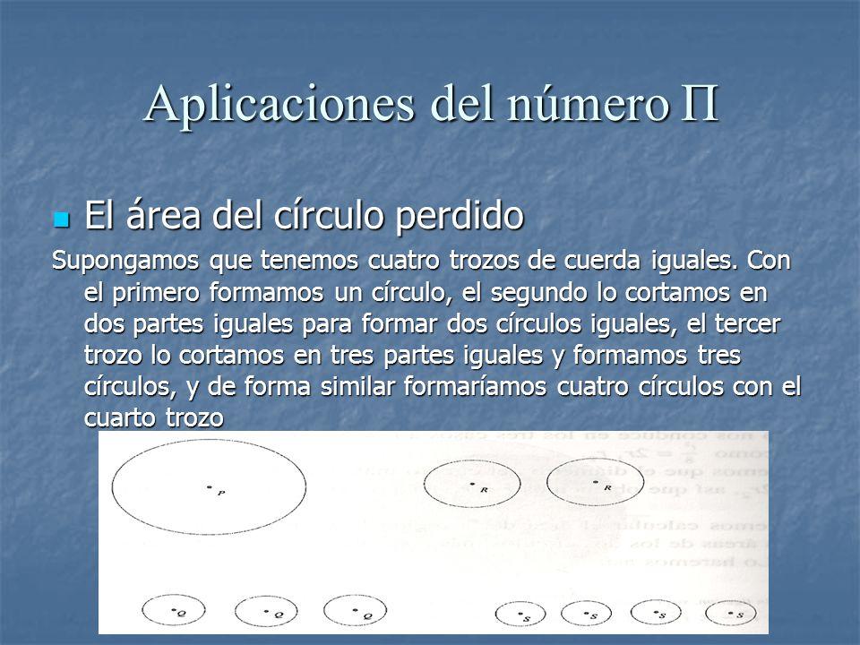 Aplicaciones del número Π El área del círculo perdido El área del círculo perdido Supongamos que tenemos cuatro trozos de cuerda iguales. Con el prime