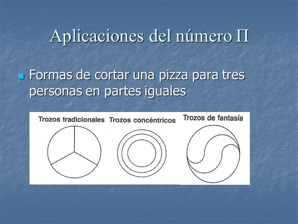 Aplicaciones del número Π Formas de cortar una pizza para tres personas en partes iguales Formas de cortar una pizza para tres personas en partes igua