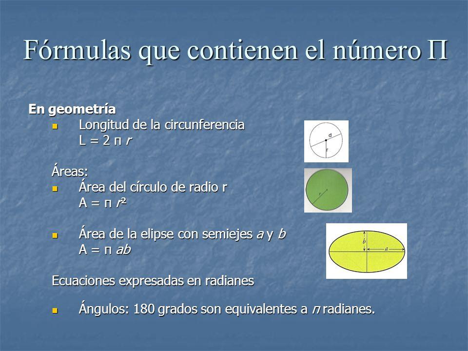 Fórmulas que contienen el número Π En geometría Longitud de la circunferencia Longitud de la circunferencia L = 2 π r Áreas: Área del círculo de radio