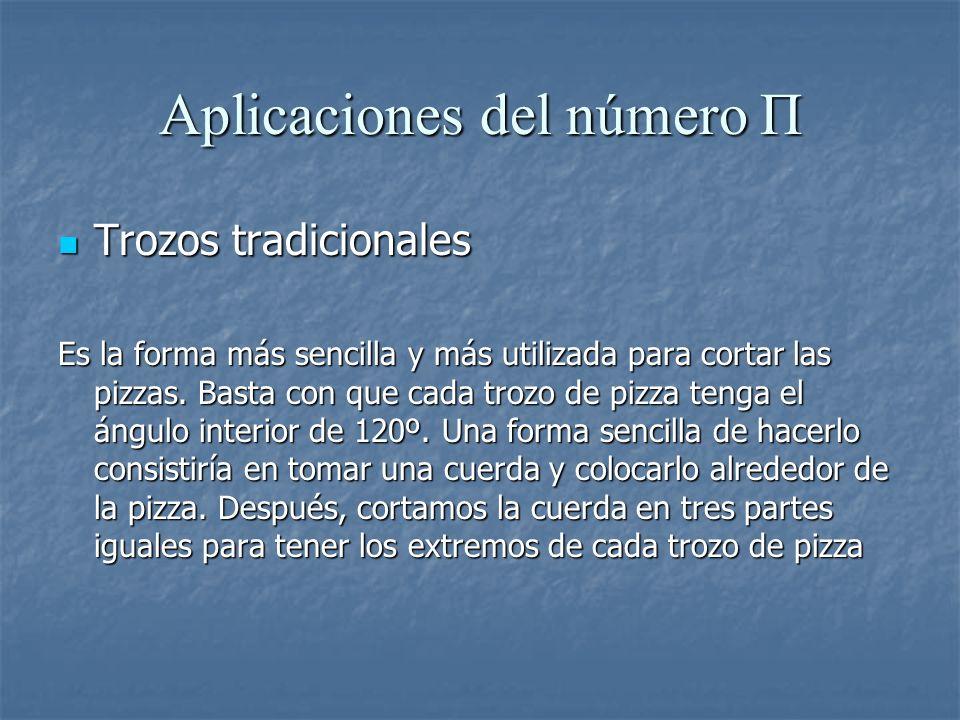 Aplicaciones del número Π Trozos tradicionales Trozos tradicionales Es la forma más sencilla y más utilizada para cortar las pizzas. Basta con que cad