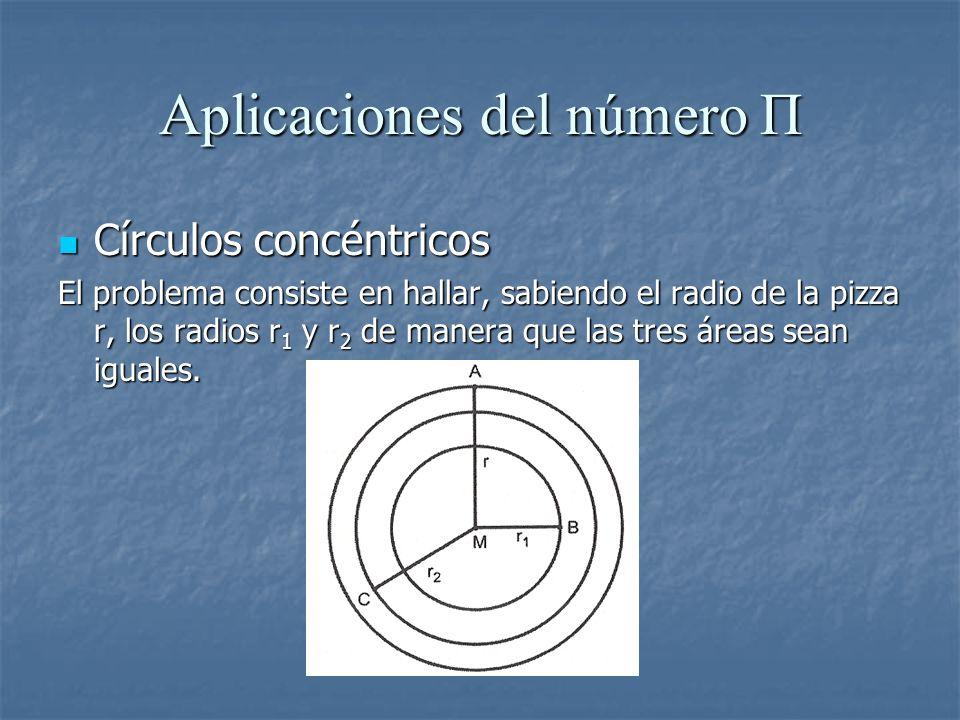 Aplicaciones del número Π Círculos concéntricos Círculos concéntricos El problema consiste en hallar, sabiendo el radio de la pizza r, los radios r 1