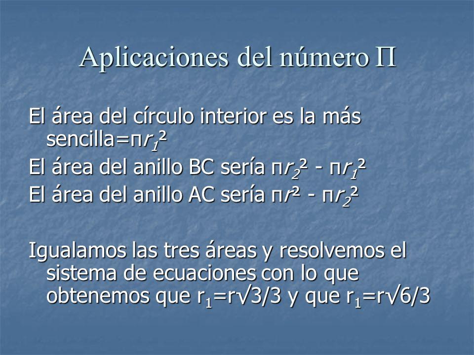 Aplicaciones del número Π El área del círculo interior es la más sencilla=πr 1 ² El área del anillo BC sería πr 2 ² - πr 1 ² El área del anillo AC ser