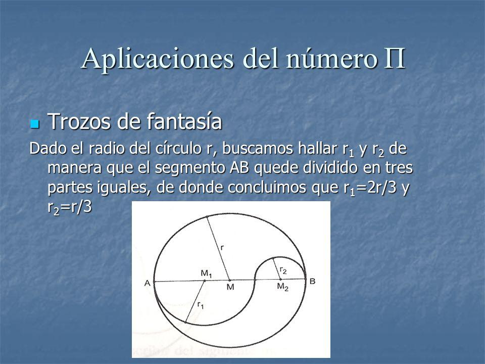 Aplicaciones del número Π Trozos de fantasía Trozos de fantasía Dado el radio del círculo r, buscamos hallar r 1 y r 2 de manera que el segmento AB qu