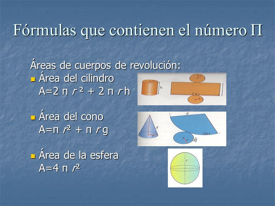 Áreas de cuerpos de revolución: Área del cilindro Área del cilindro A=2 π r ² + 2 π r h Área del cono Área del cono A=π r² + π r g Área de la esfera Á