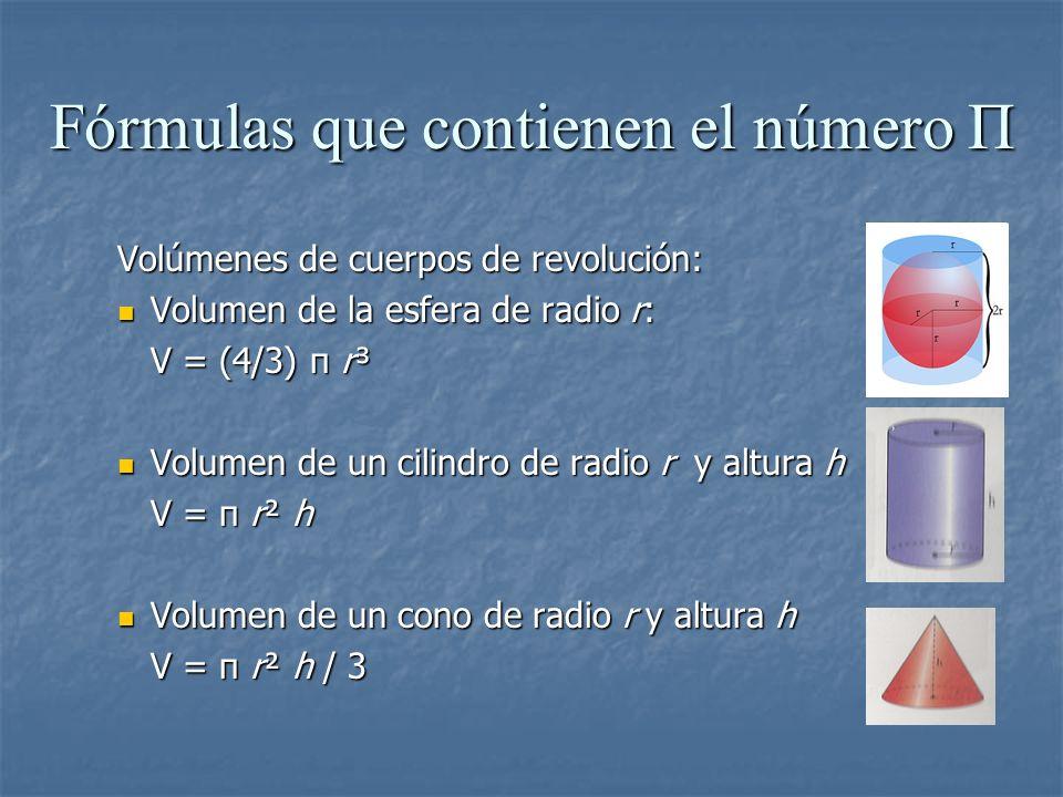 Volúmenes de cuerpos de revolución: Volumen de la esfera de radio r: Volumen de la esfera de radio r: V = (4/3) π r³ Volumen de un cilindro de radio r