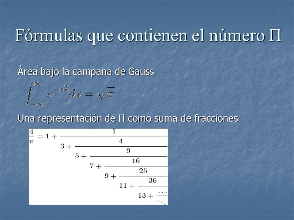 Fórmulas que contienen el número Π Área bajo la campana de Gauss Una representación de Π como suma de fracciones