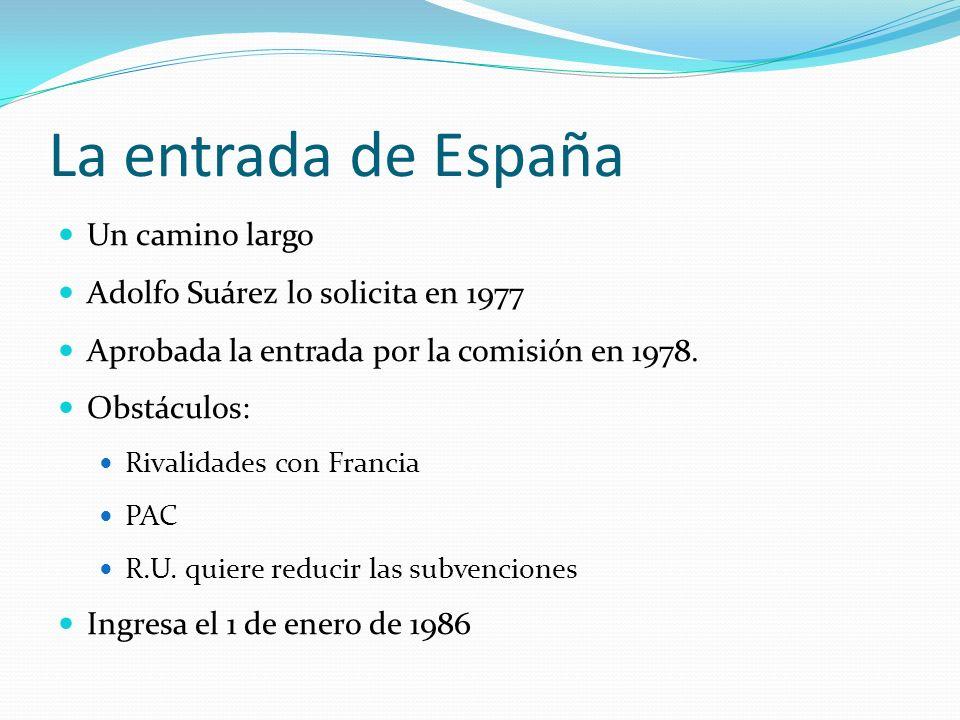 La entrada de España Un camino largo Adolfo Suárez lo solicita en 1977 Aprobada la entrada por la comisión en 1978. Obstáculos: Rivalidades con Franci