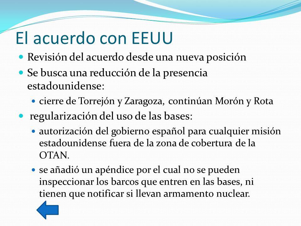El acuerdo con EEUU Revisión del acuerdo desde una nueva posición Se busca una reducción de la presencia estadounidense: cierre de Torrejón y Zaragoza