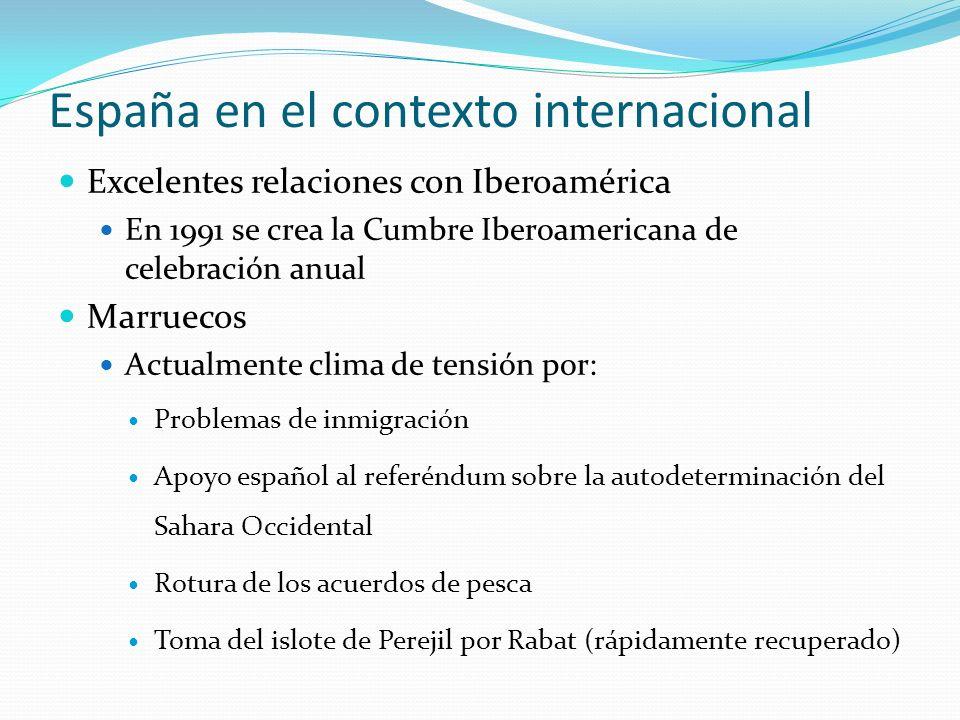 España en el contexto internacional Excelentes relaciones con Iberoamérica En 1991 se crea la Cumbre Iberoamericana de celebración anual Marruecos Act