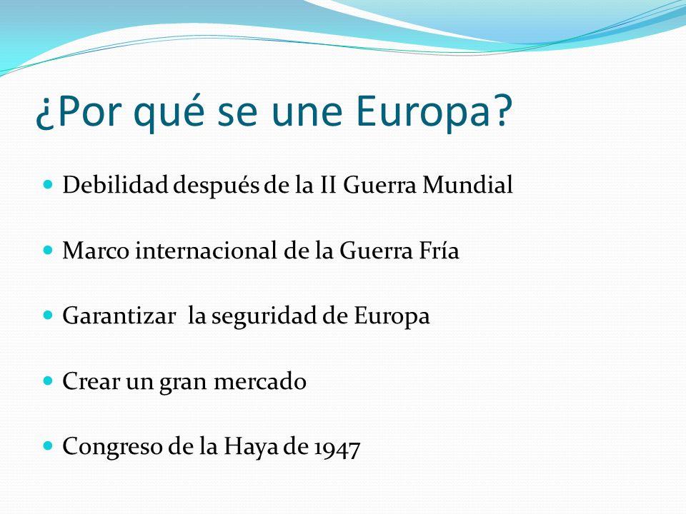 ¿Por qué se une Europa? Debilidad después de la II Guerra Mundial Marco internacional de la Guerra Fría Garantizar la seguridad de Europa Crear un gra