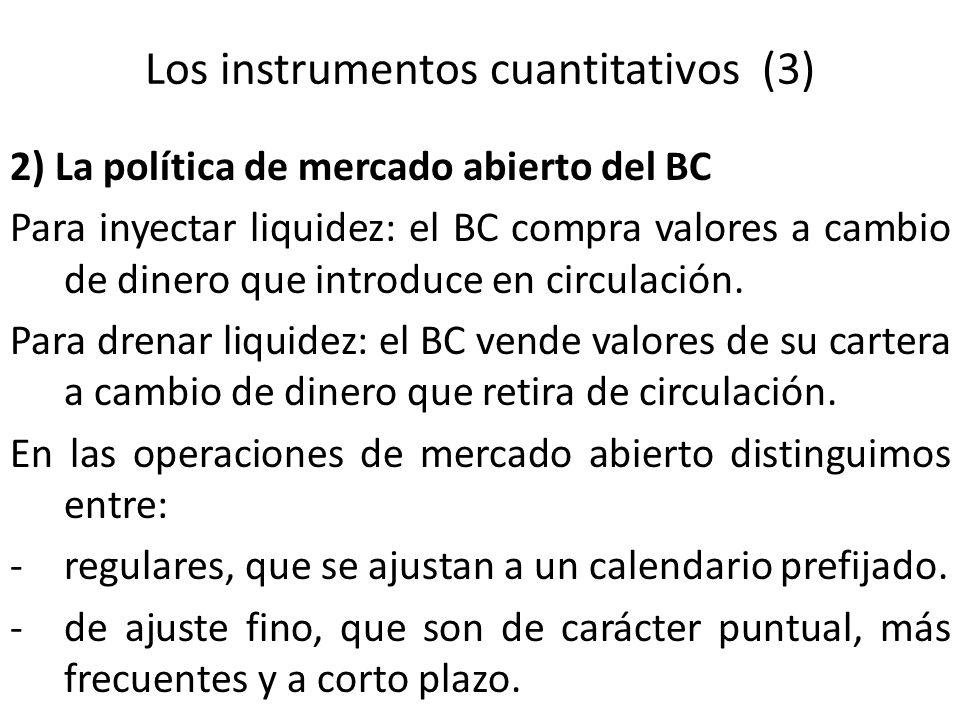 Los instrumentos cuantitativos (3) 2) La política de mercado abierto del BC Para inyectar liquidez: el BC compra valores a cambio de dinero que introd