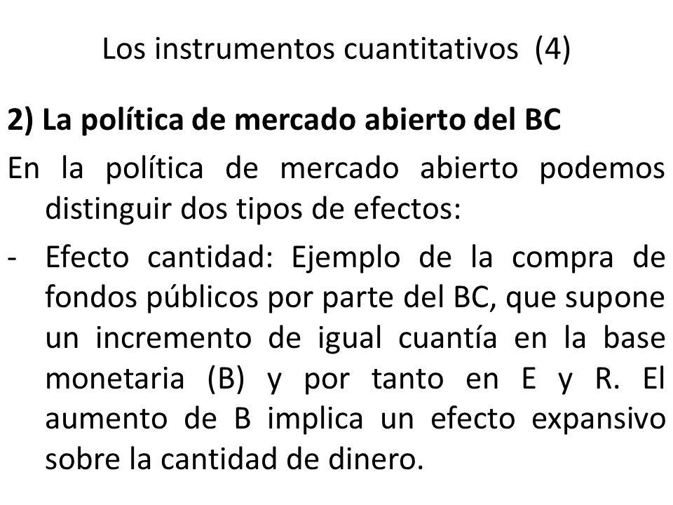 Los instrumentos cuantitativos (4) 2) La política de mercado abierto del BC En la política de mercado abierto podemos distinguir dos tipos de efectos: