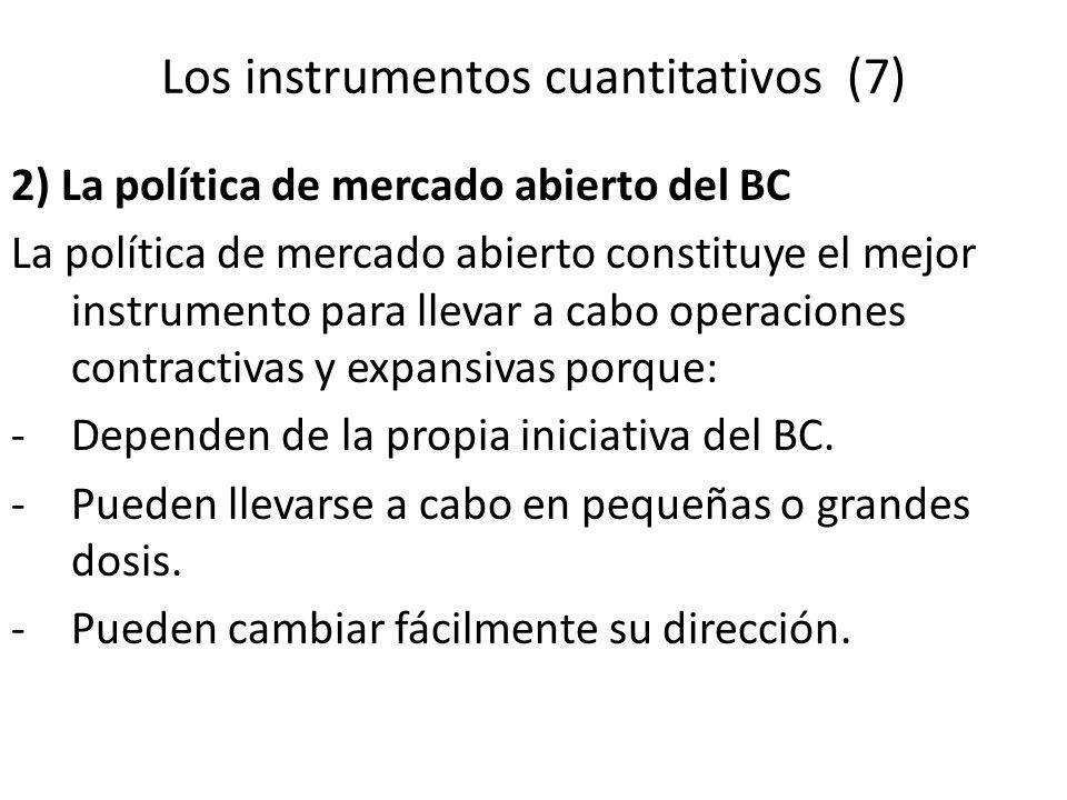 2) La política de mercado abierto del BC La política de mercado abierto constituye el mejor instrumento para llevar a cabo operaciones contractivas y