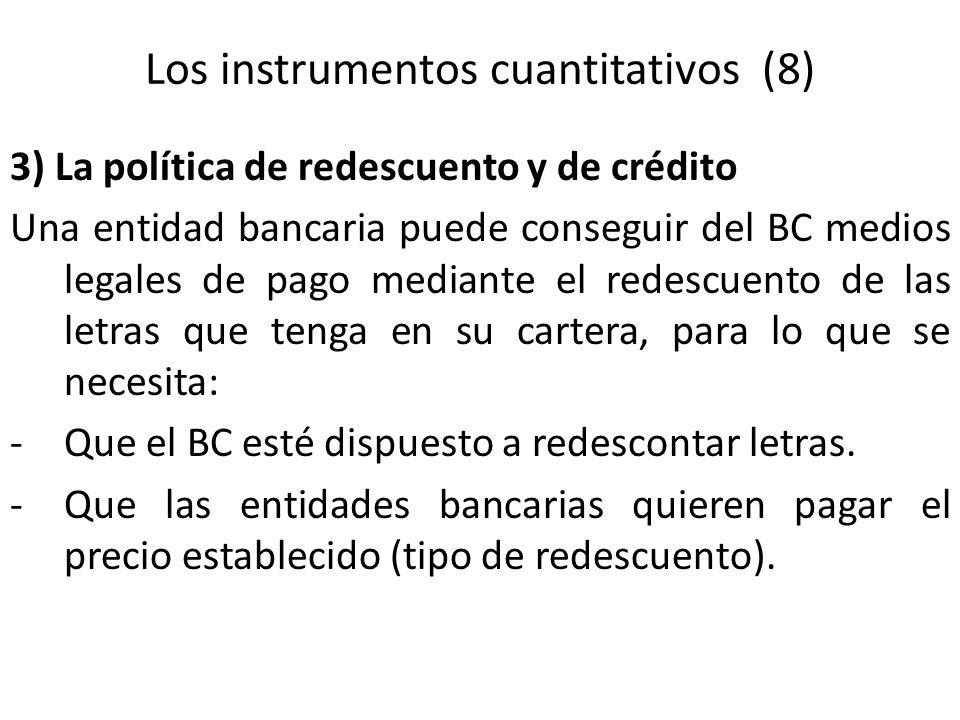 3) La política de redescuento y de crédito Una entidad bancaria puede conseguir del BC medios legales de pago mediante el redescuento de las letras qu