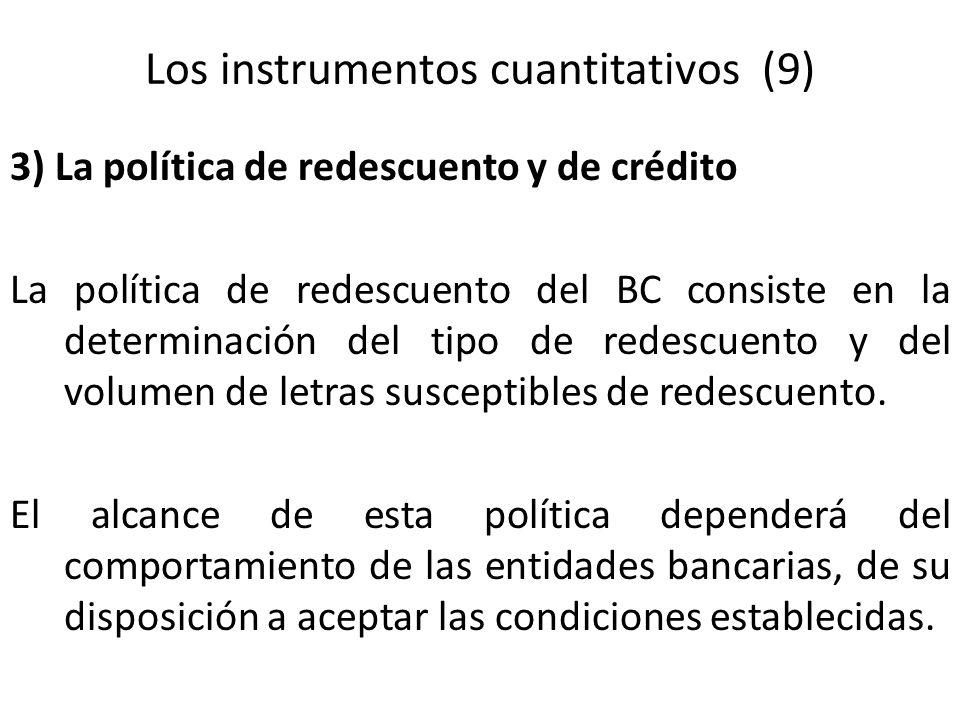 Los instrumentos cuantitativos (9) 3) La política de redescuento y de crédito La política de redescuento del BC consiste en la determinación del tipo