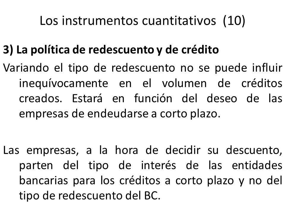 Los instrumentos cuantitativos (10) 3) La política de redescuento y de crédito Variando el tipo de redescuento no se puede influir inequívocamente en