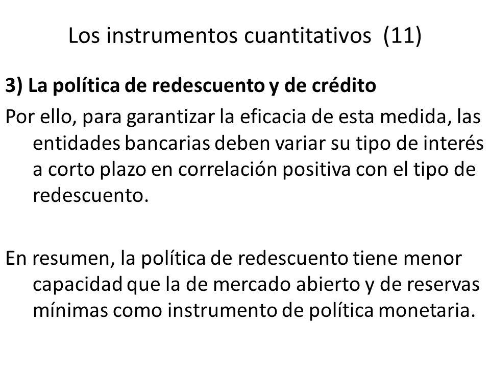 Los instrumentos cuantitativos (11) 3) La política de redescuento y de crédito Por ello, para garantizar la eficacia de esta medida, las entidades ban