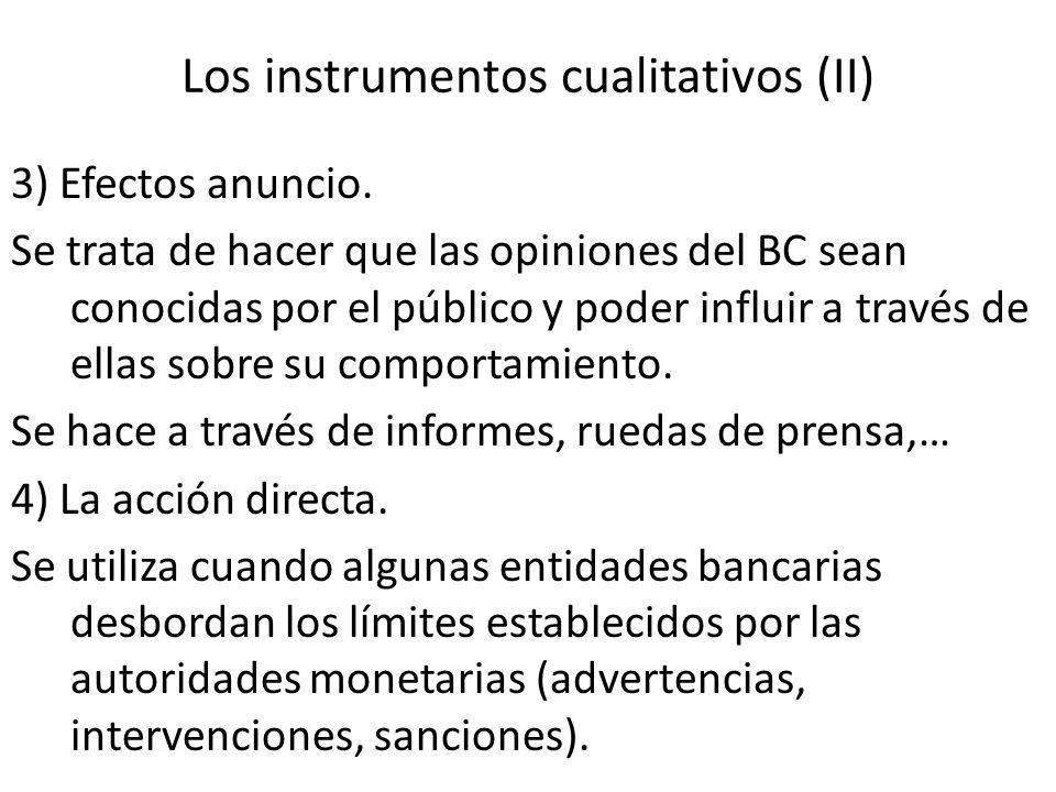 Los instrumentos cualitativos (II) 3) Efectos anuncio. Se trata de hacer que las opiniones del BC sean conocidas por el público y poder influir a trav