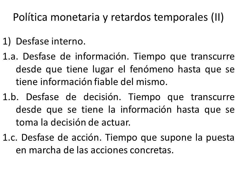 Política monetaria y retardos temporales (II) 1)Desfase interno. 1.a. Desfase de información. Tiempo que transcurre desde que tiene lugar el fenómeno