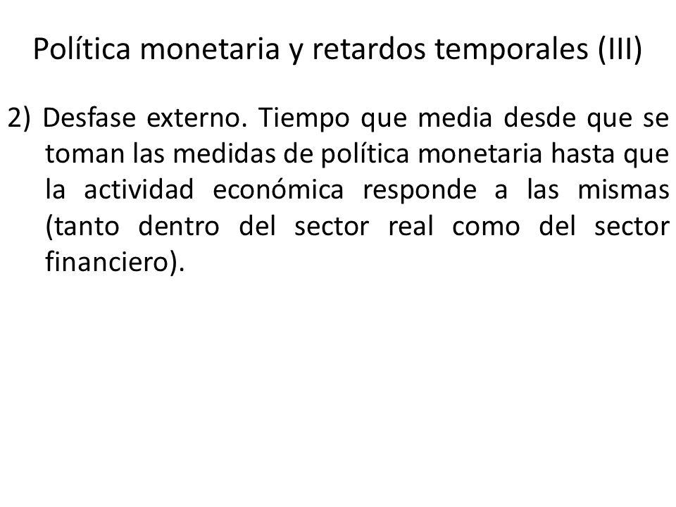 Política monetaria y retardos temporales (III) 2) Desfase externo. Tiempo que media desde que se toman las medidas de política monetaria hasta que la