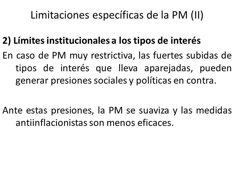 Limitaciones específicas de la PM (II) 2) Límites institucionales a los tipos de interés En caso de PM muy restrictiva, las fuertes subidas de tipos d