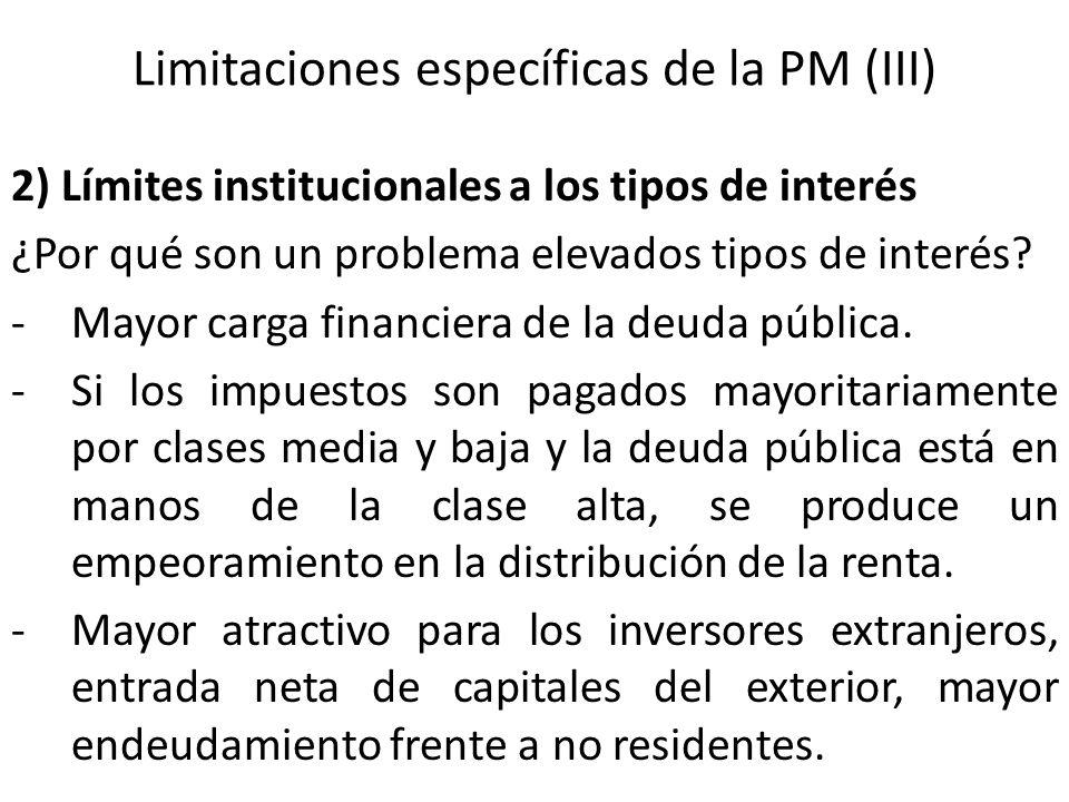 Limitaciones específicas de la PM (III) 2) Límites institucionales a los tipos de interés ¿Por qué son un problema elevados tipos de interés? -Mayor c