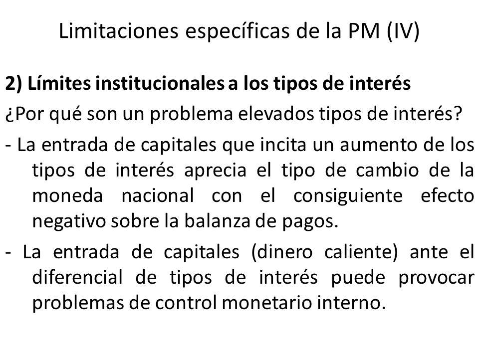Limitaciones específicas de la PM (IV) 2) Límites institucionales a los tipos de interés ¿Por qué son un problema elevados tipos de interés? - La entr