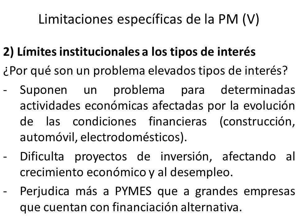 Limitaciones específicas de la PM (V) 2) Límites institucionales a los tipos de interés ¿Por qué son un problema elevados tipos de interés? -Suponen u