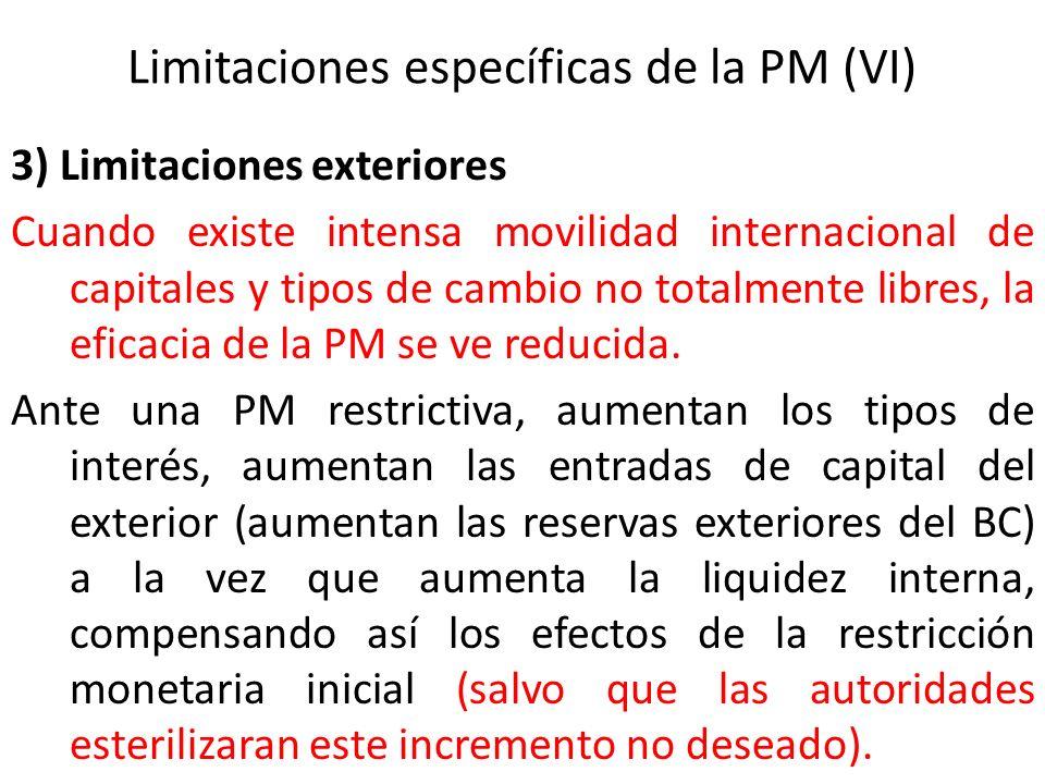 Limitaciones específicas de la PM (VI) 3) Limitaciones exteriores Cuando existe intensa movilidad internacional de capitales y tipos de cambio no tota