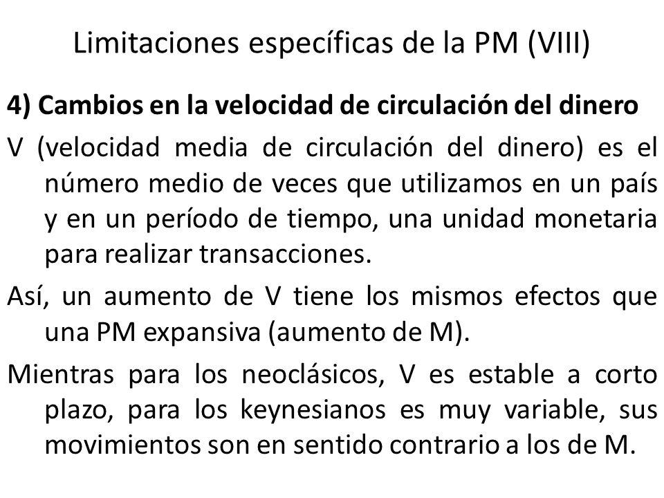 Limitaciones específicas de la PM (VIII) 4) Cambios en la velocidad de circulación del dinero V (velocidad media de circulación del dinero) es el núme