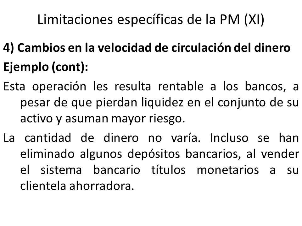 Limitaciones específicas de la PM (XI) 4) Cambios en la velocidad de circulación del dinero Ejemplo (cont): Esta operación les resulta rentable a los