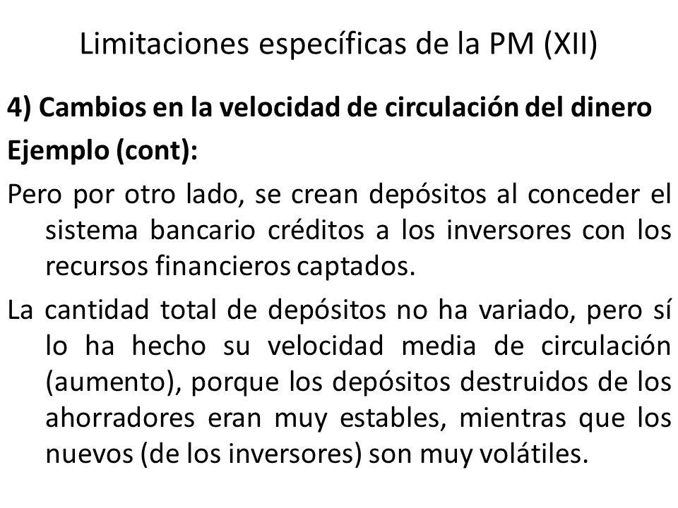Limitaciones específicas de la PM (XII) 4) Cambios en la velocidad de circulación del dinero Ejemplo (cont): Pero por otro lado, se crean depósitos al