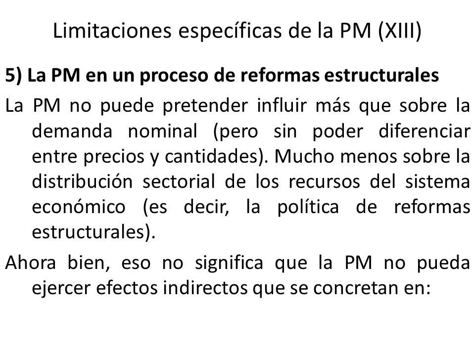 Limitaciones específicas de la PM (XIII) 5) La PM en un proceso de reformas estructurales La PM no puede pretender influir más que sobre la demanda no