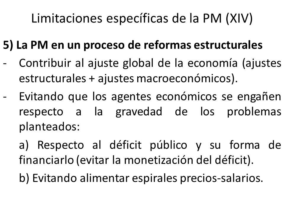Limitaciones específicas de la PM (XIV) 5) La PM en un proceso de reformas estructurales -Contribuir al ajuste global de la economía (ajustes estructu