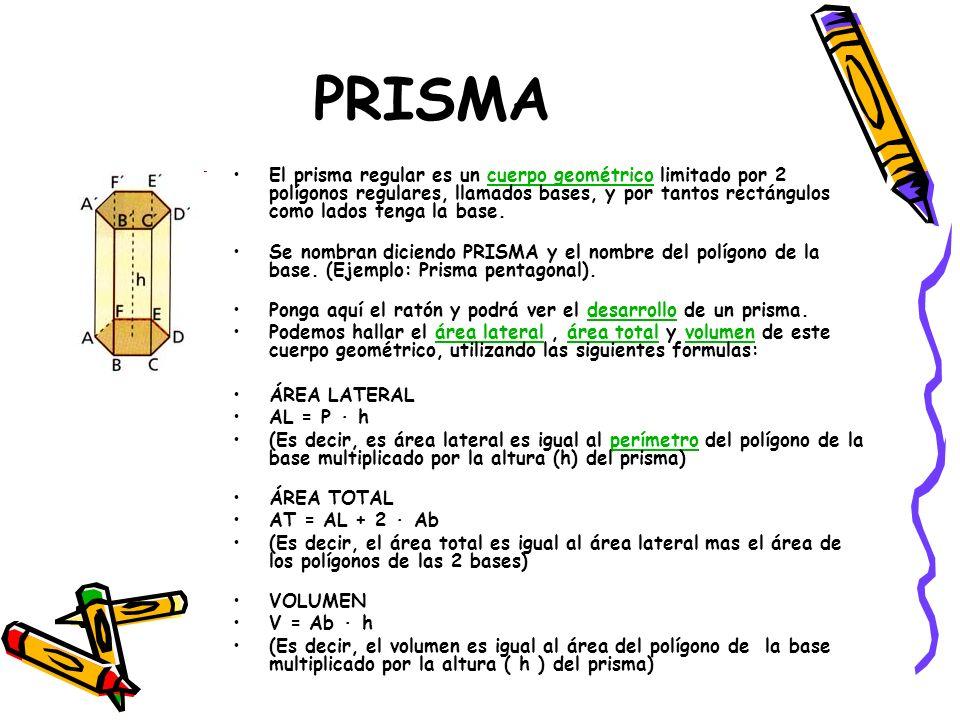 PRISMA El prisma regular es un cuerpo geométrico limitado por 2 polígonos regulares, llamados bases, y por tantos rectángulos como lados tenga la base