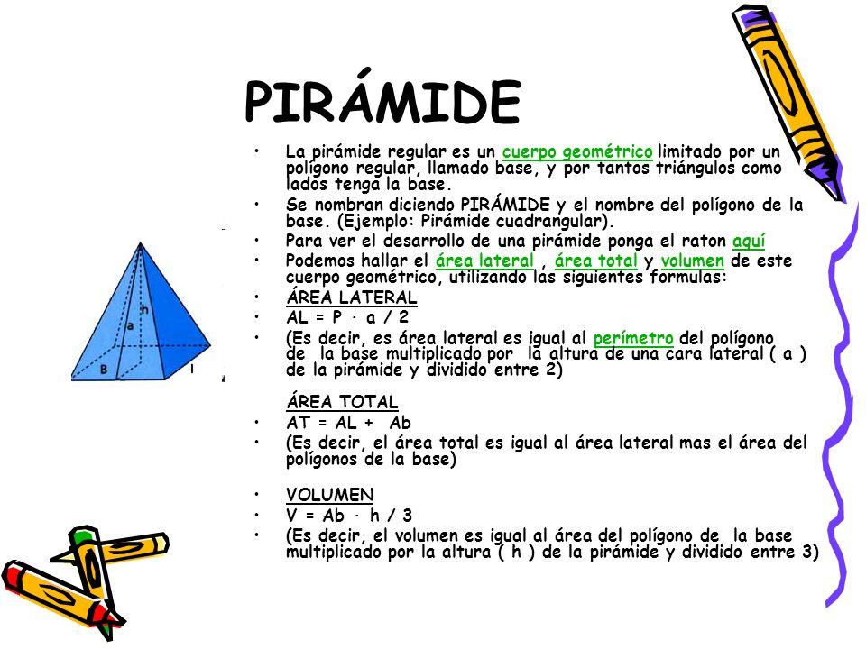 PIRÁMIDE La pirámide regular es un cuerpo geométrico limitado por un polígono regular, llamado base, y por tantos triángulos como lados tenga la base.