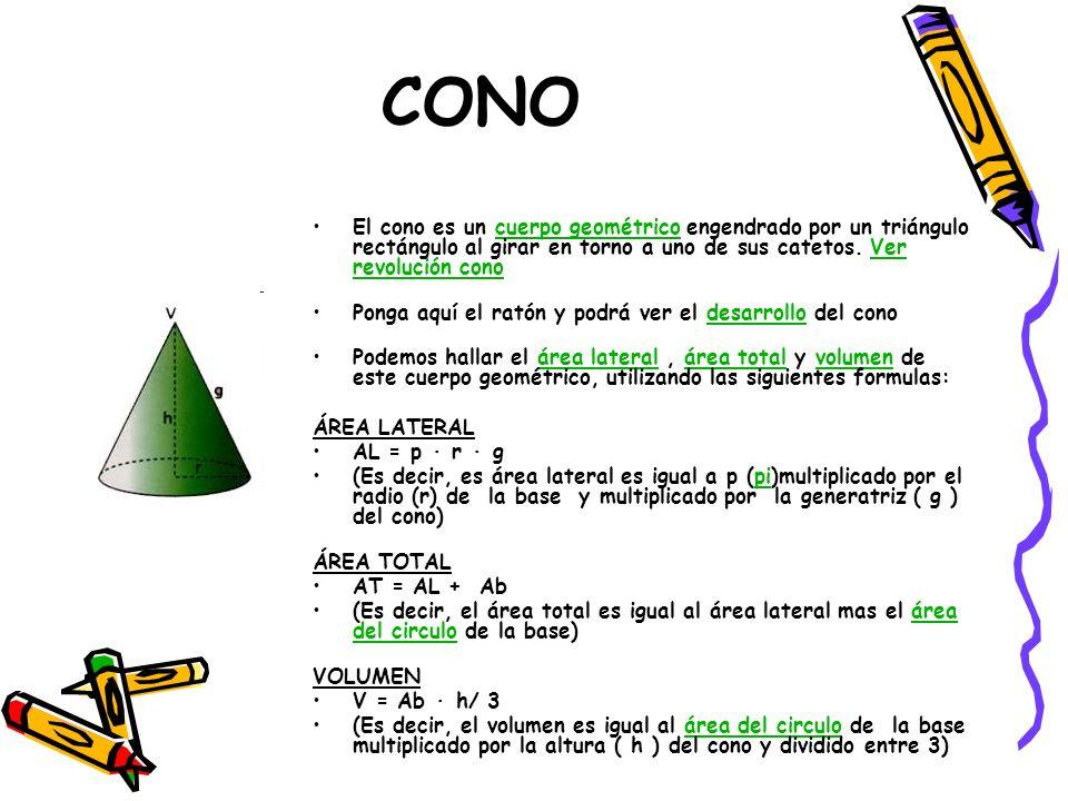 CONO El cono es un cuerpo geométrico engendrado por un triángulo rectángulo al girar en torno a uno de sus catetos. Ver revolución cono cuerpo geométr