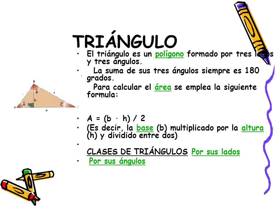 TRIÁNGULO El triángulo es un polígono formado por tres lados y tres ángulos.polígono La suma de sus tres ángulos siempre es 180 grados. Para calcular