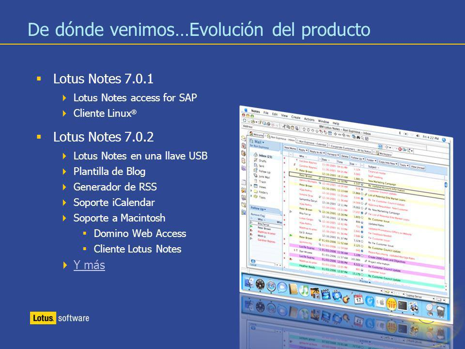 5 De dónde venimos…Evolución del producto Lotus Notes 7.0.1 Lotus Notes access for SAP Cliente Linux ® Lotus Notes 7.0.2 Lotus Notes en una llave USB