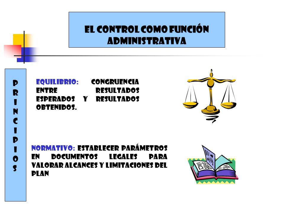 PRINCIPIOSPRINCIPIOS Equilibrio: congruencia entre resultados esperados y resultados obtenidos. Normativo: establecer parámetros en documentos legales