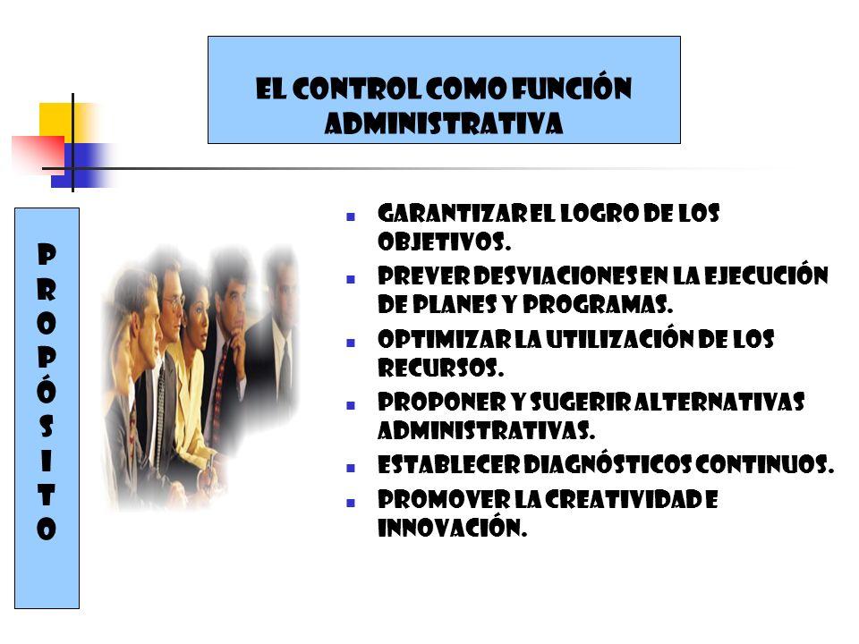EL CONTROL COMO FUNCIÓN ADMINISTRATIVA PROPÓSIToPROPÓSITo Garantizar el logro de los objetivos. Prever desviaciones en la ejecución de planes y progra