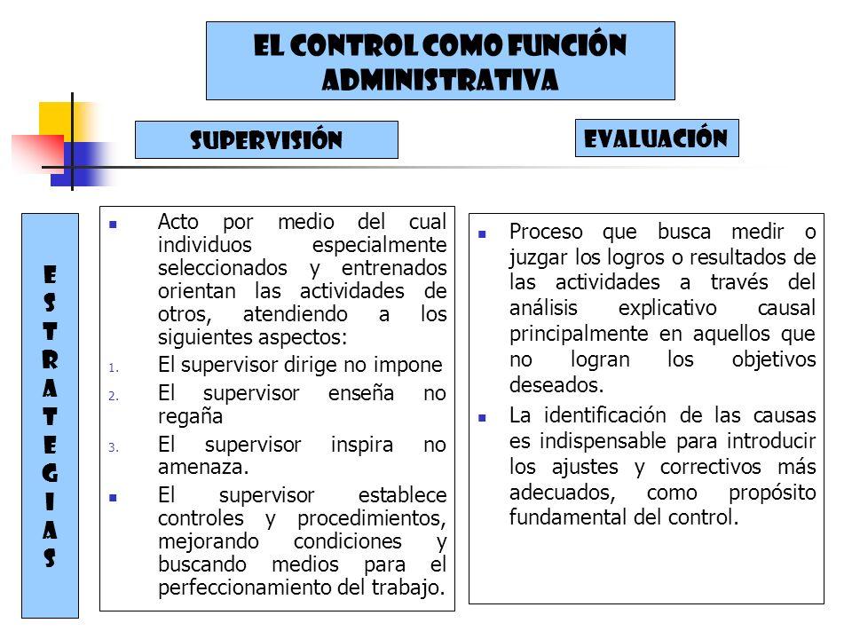 EL CONTROL COMO FUNCIÓN ADMINISTRATIVA ESTRATEGIAsESTRATEGIAs Acto por medio del cual individuos especialmente seleccionados y entrenados orientan las