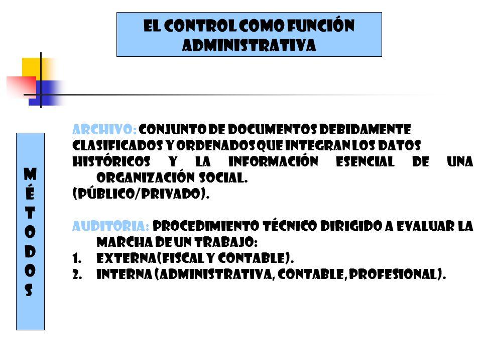 EL CONTROL COMO FUNCIÓN ADMINISTRATIVA MÉTODOSMÉTODOS Archivo: conjunto de documentos debidamente Clasificados y ordenados que integran los datos Hist