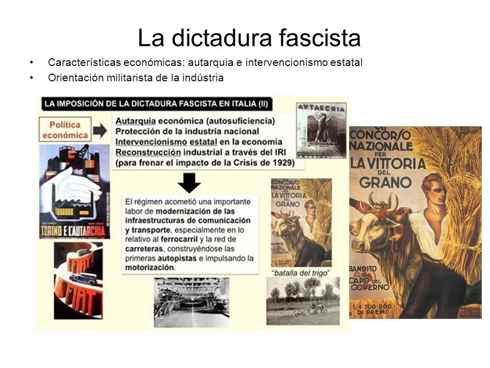 La dictadura fascista Características económicas: autarquia e intervencionismo estatal Orientación militarista de la indústria