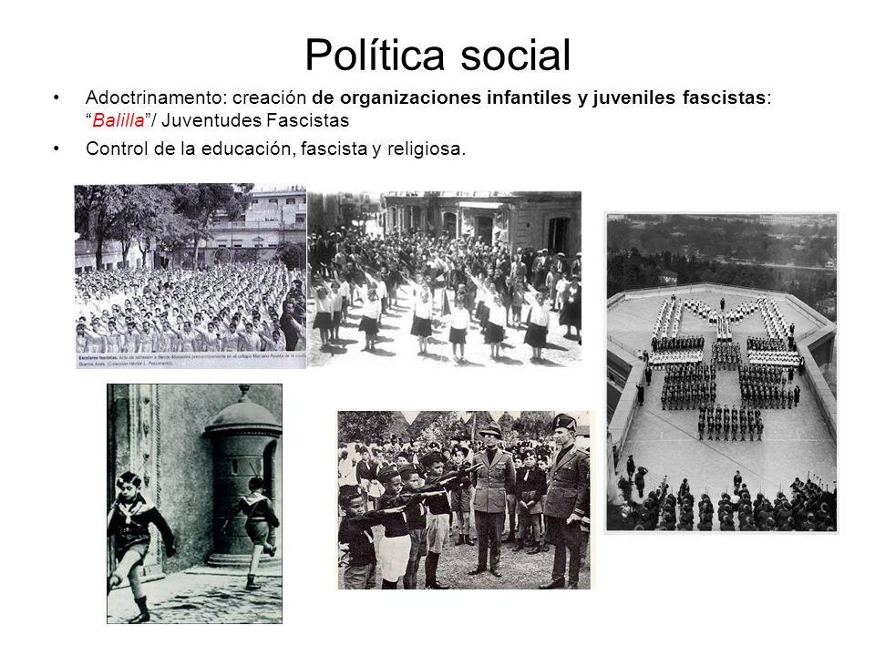 Política social Adoctrinamento: creación de organizaciones infantiles y juveniles fascistas:Balilla/ Juventudes Fascistas Control de la educación, fas