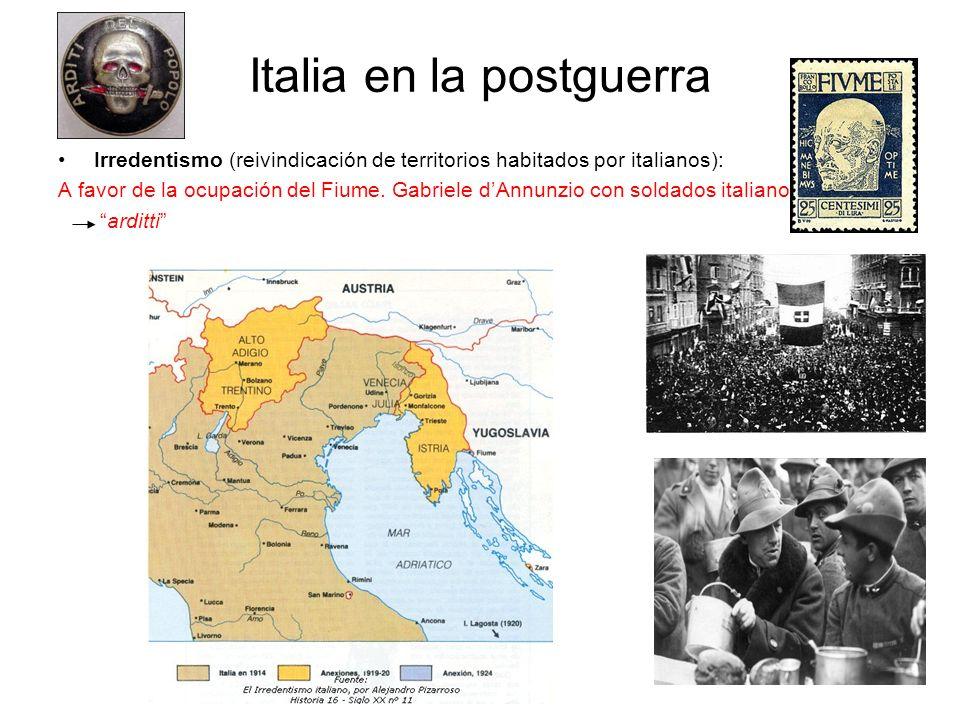 Italia en la postguerra Irredentismo (reivindicación de territorios habitados por italianos): A favor de la ocupación del Fiume. Gabriele dAnnunzio co