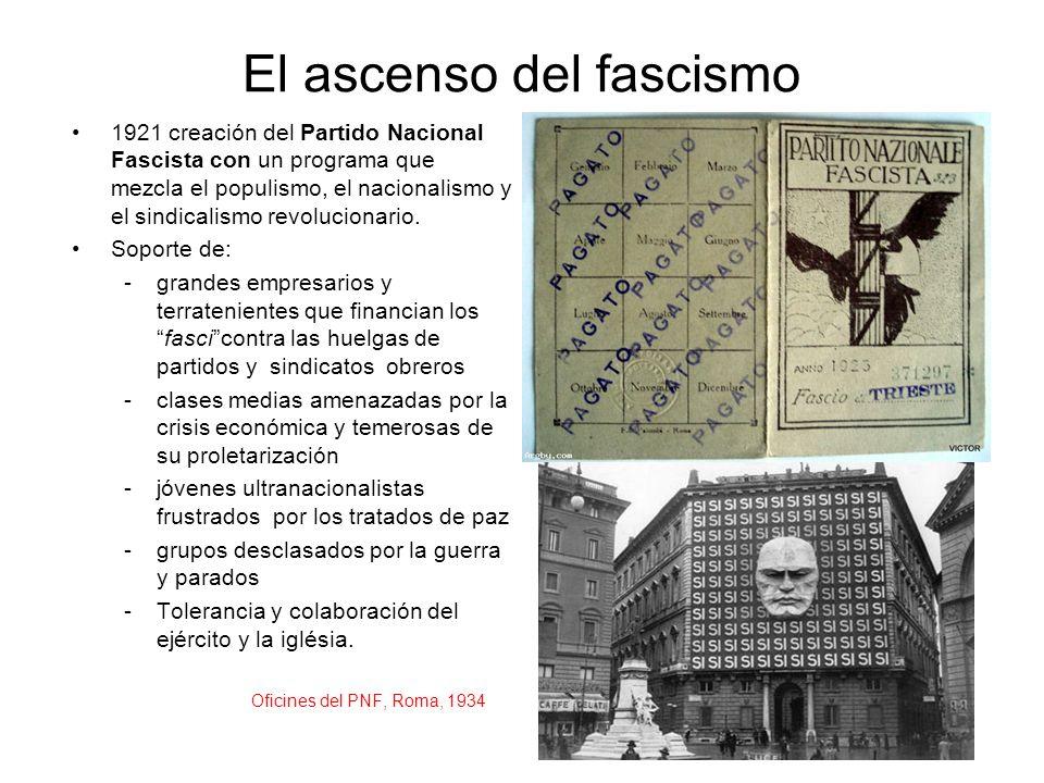 El ascenso del fascismo 1921 creación del Partido Nacional Fascista con un programa que mezcla el populismo, el nacionalismo y el sindicalismo revoluc