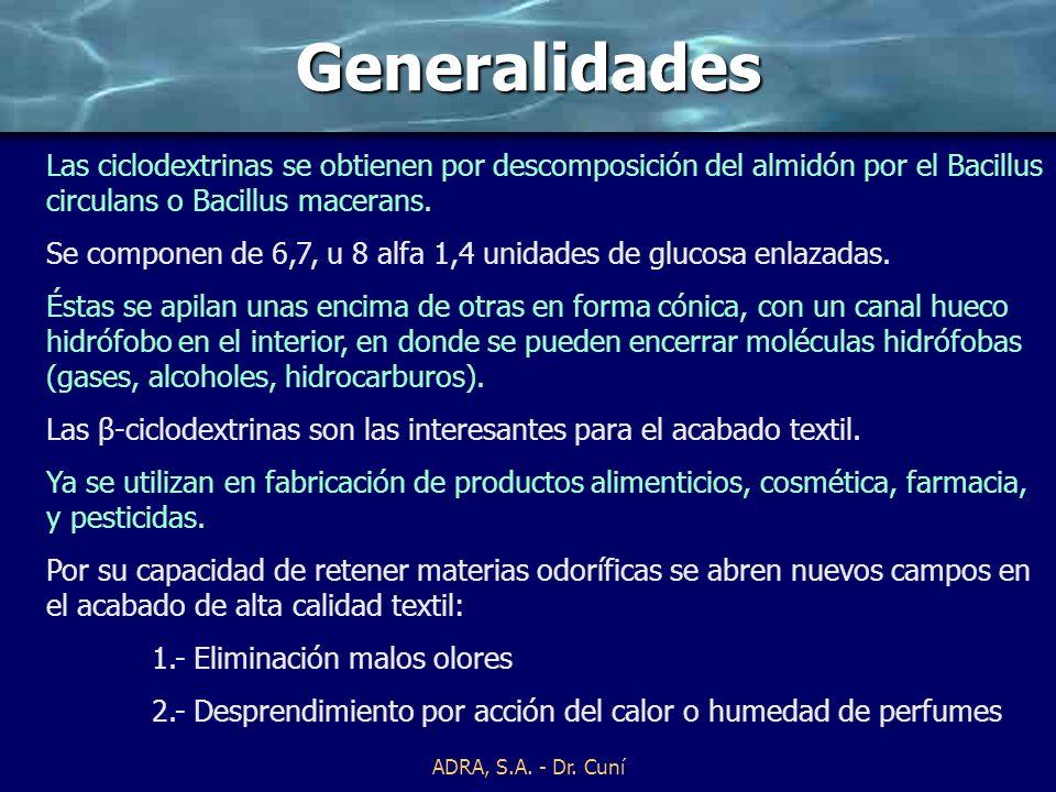 ADRA, S.A. - Dr. Cuní CICLODEXTRINAS EN EL ACABADO TEXTIL