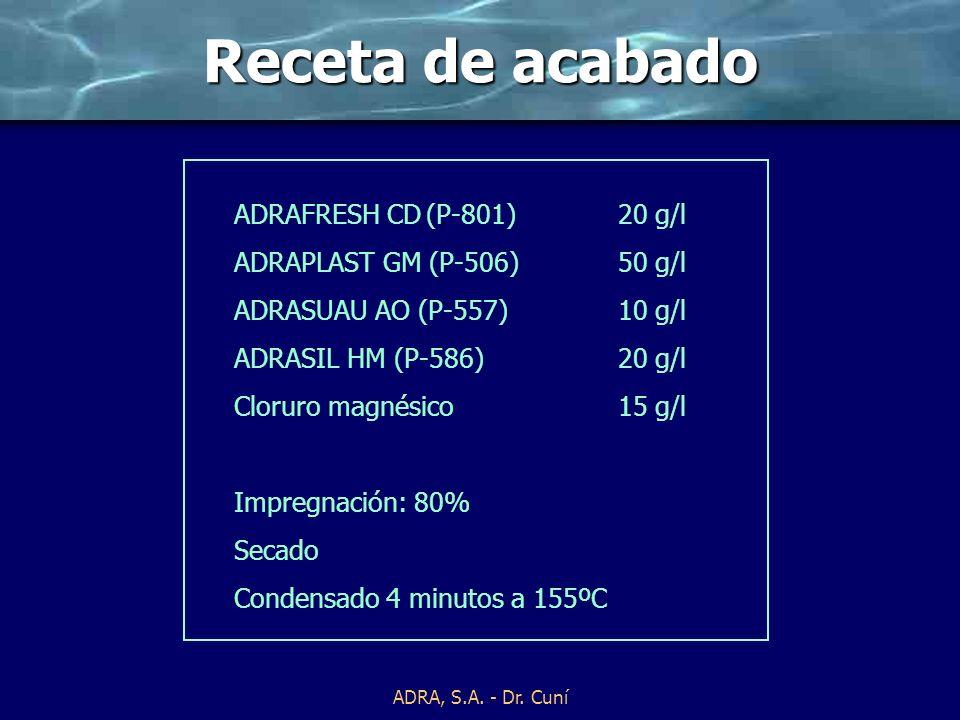 ADRA, S.A. - Dr. Cuní Procesos de aplicación Procesos de aplicación: Por fulard Por estampación Mecanismos de fijación: Mediante sustantividad Mediant